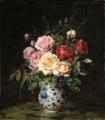 Oluf August Hermansen - Overdådig blomsterbuket i vase.png