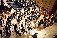 Philharmonic orchestra of Jalisco playing at the Degollado Theater of Guadalajara.