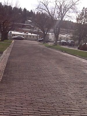 Red Brick Roads - Overview of NE Maple Street, (south view)