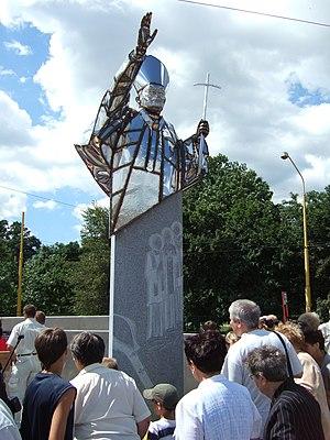 Teachings of Pope John Paul II - John Paul II's statue in Košice, Slovakia. The statue was unveiled by Cardinal Stanisław Dziwisz, who had been Pope John Paul II private secretary.