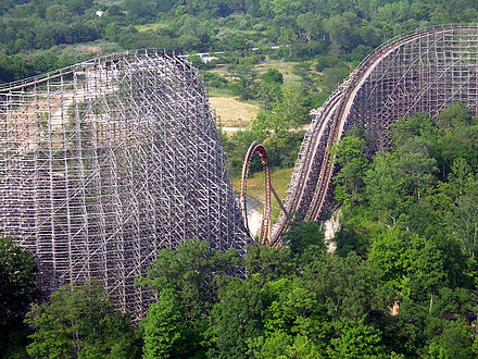 Son of Beast (2000) at Kings Island, the first wooden roller coaster to have an inversion PKI-Son of Beast.jpg