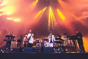 Hot Chip treedt op tijdens het Positivus Festival in 2016