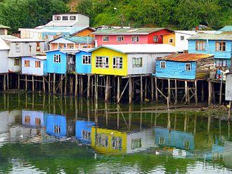 Castro, Chile - Colourful palafitos in Castro