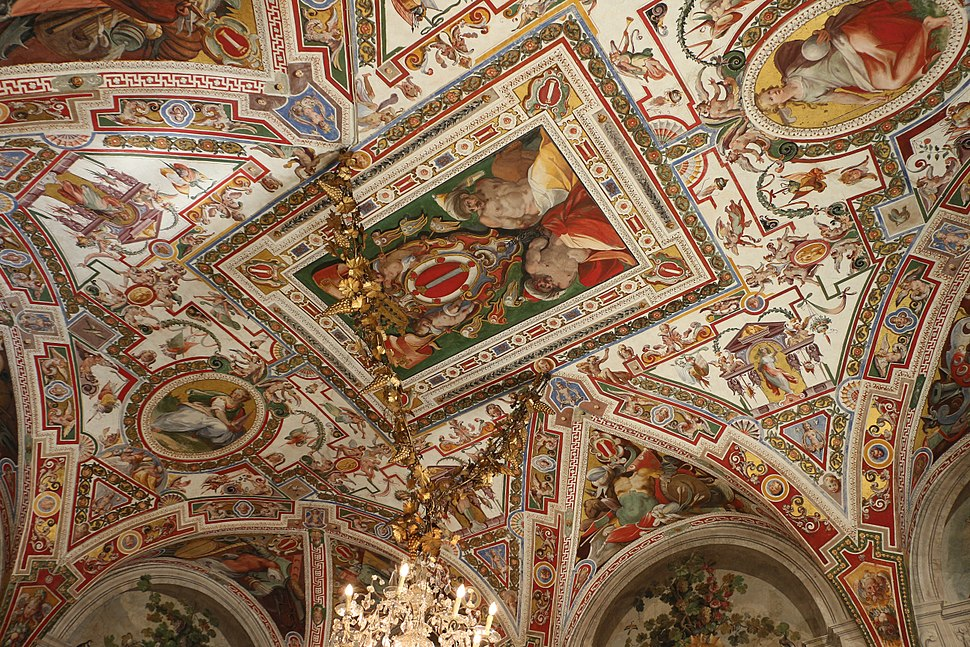 Palazzo colonna, appartamento della principessa isabelle, sala del dughet, affreschi di cristoforo pomarancio e scuola 01