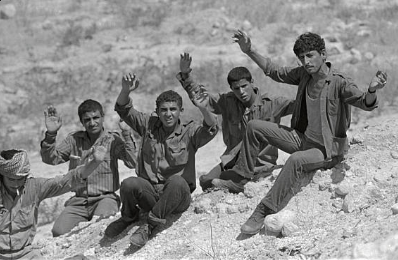 Palestinian fedayeen surrendering to Israel after being expelled from Jordan, 21 July 1971