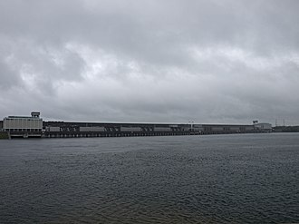Moses-Saunders Power Dam - Panorama of the dam from the U.S. side