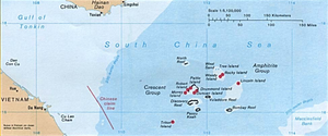 USNS Impeccable (T-AGOS-23) - The Hainan Submarine Base is on the island of Hainan. The nearby Paracel Islands are administered by China, but claimed by both Vietnam and Taiwan