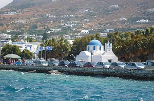 The Paros seefront in Greece.