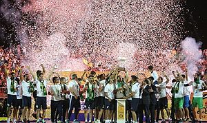 F.C. Pars Jonoubi Jam - Pars Jam players celebrating promotion to the Persian Gulf Pro League