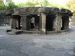 Pune - The circular Nandi mandapa at the Pataleshwar cave temple, built during the Rashtrakuta dynasty.