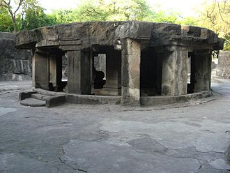 Pune - The circular Nandi mandapa at the Pataleshwar cave temple built in the Rashtrakuta era