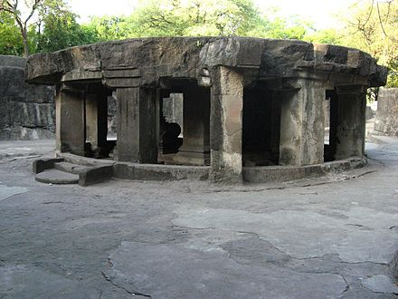 The circular Nandi mandapa at the Pataleshwar cave temple built in the Rashtrakuta era Pataleshwar cave complex Pune.jpg
