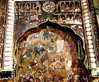 Bhattaraka - Bhattarak Mahendrakirti of Rehli giving pravachan, mural Patnaganj-Rehli, 18th century
