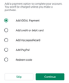 Payment options in Google Play offered when 'completing an account set-up' (September 2020).png