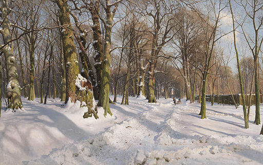 Peder Mønsted - Sneklædte skovvej i sollys (1908)