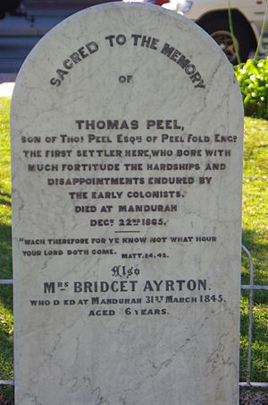 Thomas Peel - Thomas Peel's headstone