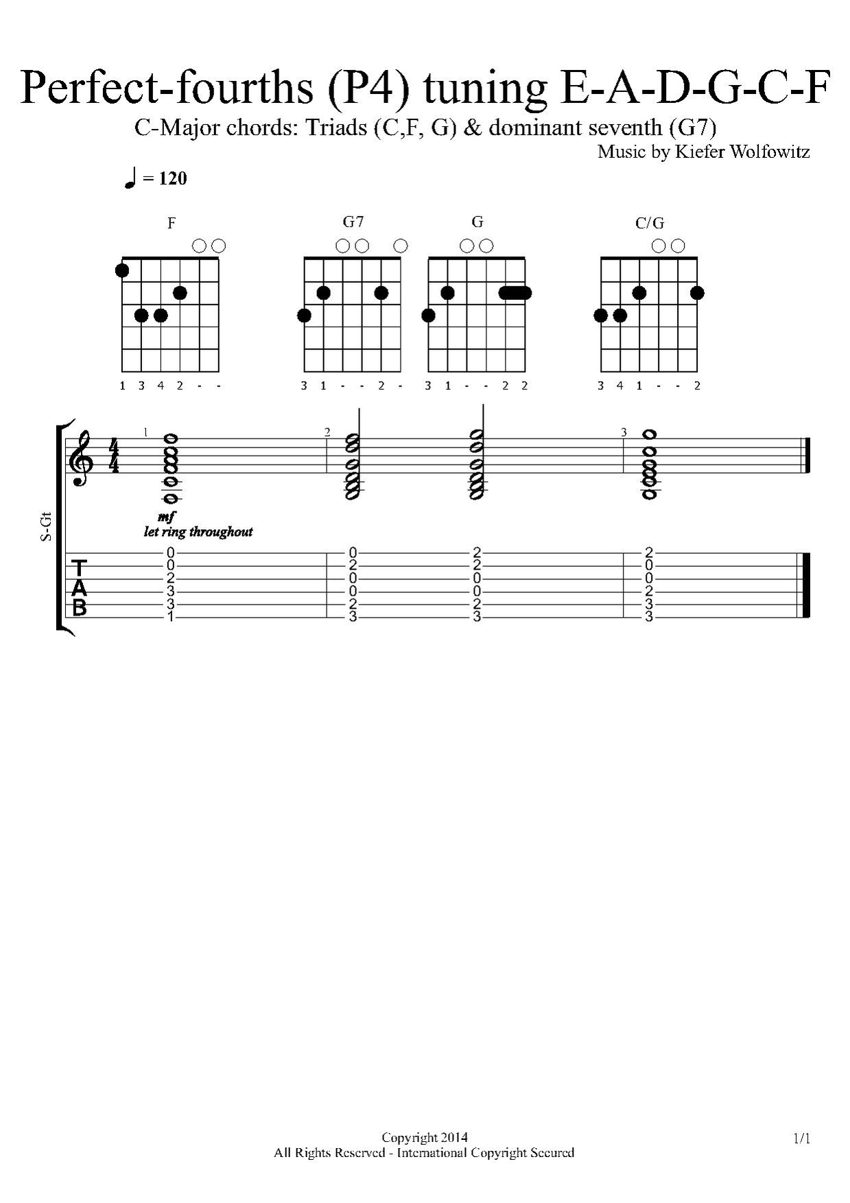 Major triads and dominant seventh chords in all perfect-fourths tuning for the major scale on C: C major, F major, G major, and G7 (major-minor seventh with dominant function).
