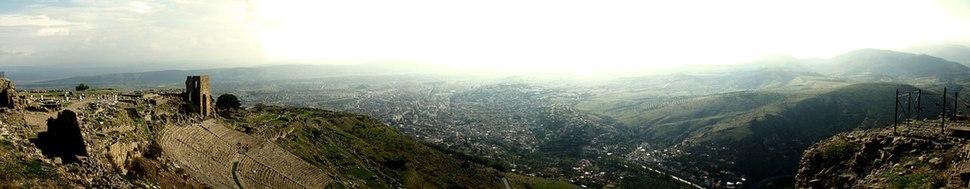 Panoramic view of Pergamon and the modern city of Bergama.