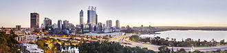 Kings Park, Western Australia - Perth central business district, from above the Aboriginal Art Gallery in Kings Park
