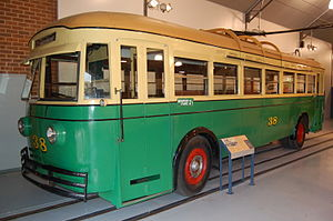 Trolleybuses in Perth - Preserved Midland Railway Workshops bodied Leyland TB5 no 38 at Whiteman Park in 2011