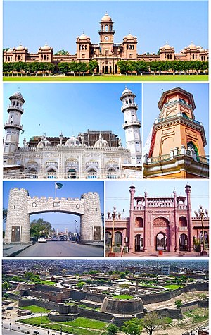 Clockwise from top: Islamia College، Cunningham clock tower, Sunehri Mosque, Bala Hissar Fortress, Bab-e-Khyber, Mahabat Khan Mosque