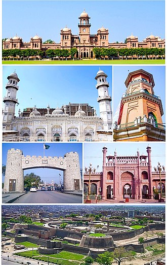 Peshawar - Clockwise from top: Islamia College, Cunningham clock tower, Sunehri Mosque, Bala Hissar Fortress, Bab-e-Khyber, Mahabat Khan Mosque