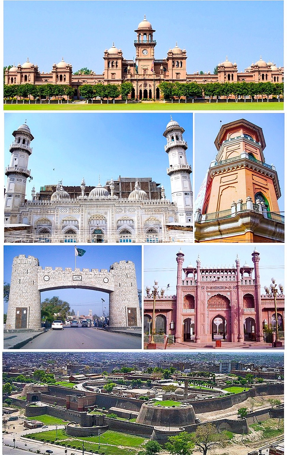 Clockwise from top: Islamia College, Cunningham clock tower, Sunehri Mosque, Bala Hissar Fortress, Bab-e-Khyber, Mahabat Khan Mosque