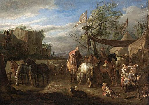 Peter van Bloemen - Riders Resting at a Military Encampment