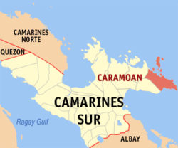 Map of Camarines Sur showing the location of Caramoan