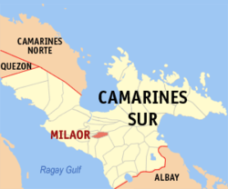 Map of Camarines Sur showing the location of Milaor