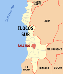 Map of Ilocos Sur with Salcedo highlighted