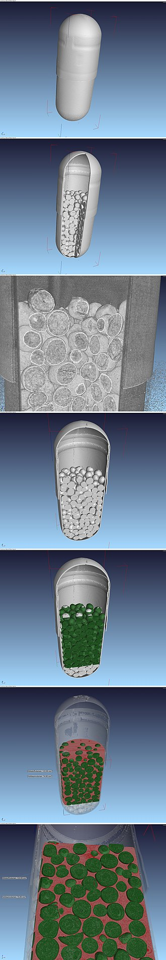 Capsule (pharmacy) - Reconstruction from µCT-data of a hard starch capsule containing Diclofenac. Resolution 18,6 µm/pixel.