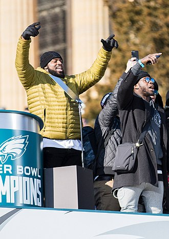 Jay Ajayi - Ajayi (right) and Fletcher Cox left celebrate at the Super Bowl LII Victory Parade in Philadelphia