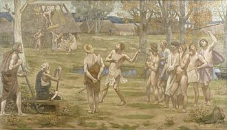 "Picardy - This painting by Pierre Puvis de Chavannes recalls the ""Golden Age"" in the history of the province of Picardy. The Walters Art Museum."