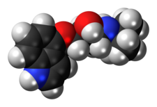Space-filling model of the pindolol molecule