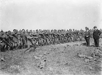 New Zealand Division - Soldiers from the Pioneer Battalion performing a haka, June 1918