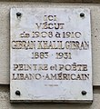 Plaque Gibran Khalil Gibran, 14 avenue du Maine, Paris 15e.jpg