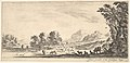 Plate 11- shepherdess seated to the right under a tree, watching her flock to the left, mountains to right in the background, from 'Various landscapes' (Divers paysages) MET DP827786.jpg