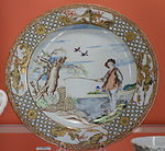 Plate with fisherman scene based on a print by Abraham Bloemaert, Jingdezhen, China, c. 1740 - Winterthur Museum - DSC01577.JPG