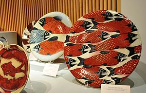 Ceramics of Jalisco - Stoneware plates on display at the Jorge Wilmot exhibition at the Museo de Arte Popular, Mexico City.