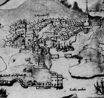 Plymouth, Devon, was the burgeoning home port of Drake, Gilbert, Grenville and Raleigh Plymouth 1540.png