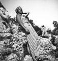 Portrait, lady, rock, summer, smile, fashion, summer dresses, wrist watch Fortepan 60370.jpg