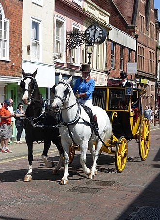 Post chaise - Post chaise with just a pair of horses, a postilion and one footman in Preston Street, Faversham, 200th anniversary of the Battle of Waterloo