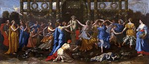 Hymen (god) - Nicolas Poussin, Hymenaios Disguised as a Woman During an Offering to Priapus, 1634, São Paulo Museum of Art