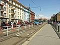 Praha, Dejvice, Dejvická, příjezd tramvaje.JPG