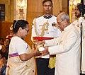 Pranab Mukherjee presenting the Padma Vibhushan Award to Shri Purno Agitok Sangma (Posthumous) the award received by his wife Smt. Soradini Kongkal Sangma, at a Civil Investiture Ceremony, at Rashtrapati Bhavan, in New Delhi.jpg