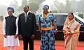 Pratibha Devisingh Patil and the Prime Minister, Dr. Manmohan Singh at the Ceremonial Reception of the President of Republic of Malawi, Ngwazi Prof. Bingu wa Mutharika and his wife Mrs. Callista wa Mutharika (1).jpg