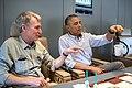 President Barack Obama talks with Bill Nye aboard Air Force One.jpg