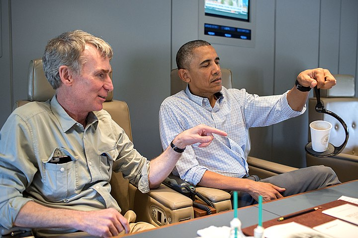 President Barack Obama talks with Bill Nye aboard Air Force One.jpg