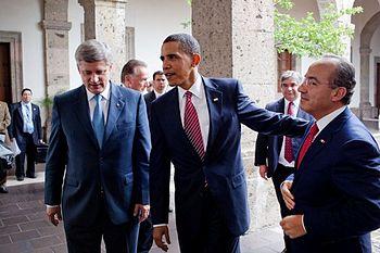 President Barack Obama with Stephen Harper and Felipe Calder%C3%B3n
